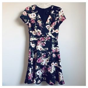 AQUA Black Floral Mini Faux Wrap Dress NWT